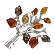 Sterling Silver Cognac amber tree Brooch